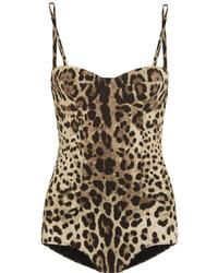 beige Badeanzug mit Leopardenmuster von Dolce & Gabbana