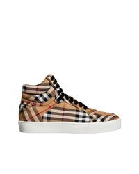 beige bedruckte hohe Sneakers von Burberry