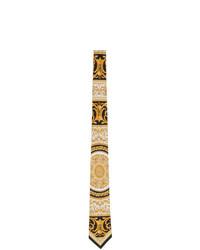 beige bedruckte Krawatte von Versace