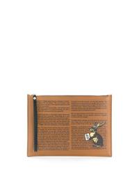 beige bedruckte Leder Clutch Handtasche von Etro