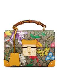 beige bedruckte Satchel-Tasche aus Segeltuch von Gucci