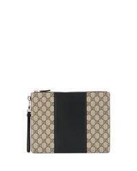 beige bedruckte Segeltuch Clutch Handtasche von Gucci