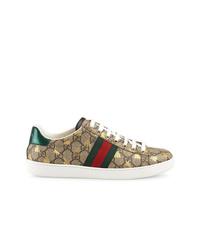 beige bedruckte Segeltuch niedrige Sneakers von Gucci