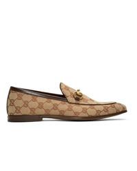 beige bedruckte Segeltuch Slipper von Gucci
