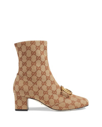 beige bedruckte Segeltuch Stiefeletten von Gucci