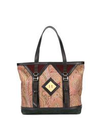 beige bedruckte Shopper Tasche aus Leder von Etro