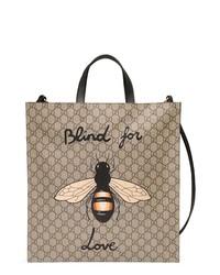 beige bedruckte Shopper Tasche aus Segeltuch