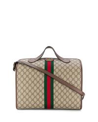 beige bedruckte Shopper Tasche aus Segeltuch von Gucci