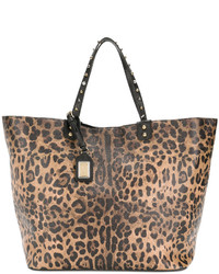 beige bedruckte Shopper Tasche von Dolce & Gabbana