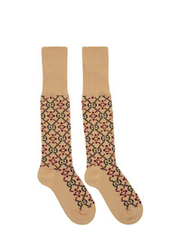 beige bedruckte Socken
