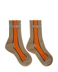 beige bedruckte Socken von Burberry