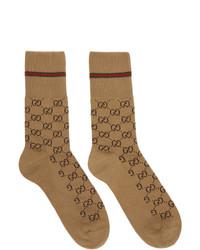beige bedruckte Socken von Gucci