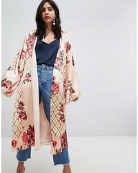 beige bedruckter Kimono von ASOS DESIGN