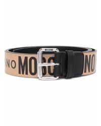 beige bedruckter Ledergürtel von Moschino