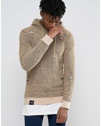 beige bedruckter Pullover mit einem Kapuze