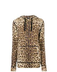 beige bedruckter Pullover mit einer Kapuze von Dolce & Gabbana