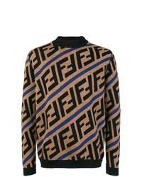 beige bedruckter Rollkragenpullover von Fendi