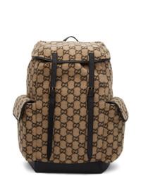 beige bedruckter Rucksack von Gucci