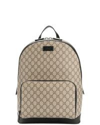 beige bedruckter Segeltuch Rucksack von Gucci