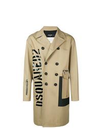 beige bedruckter Trenchcoat von DSQUARED2