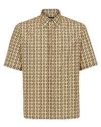beige bedrucktes Kurzarmhemd von Fendi