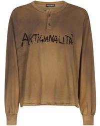 beige bedrucktes Langarmshirt mit einer Knopfleiste von Dolce & Gabbana