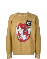 beige bedrucktes Sweatshirt