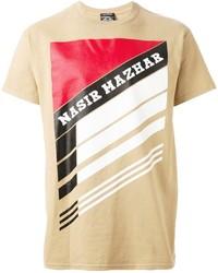beige bedrucktes T-Shirt mit einem Rundhalsausschnitt