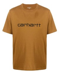 beige bedrucktes T-Shirt mit einem Rundhalsausschnitt von Carhartt WIP