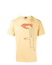 beige bedrucktes T-Shirt mit einem Rundhalsausschnitt von Dust
