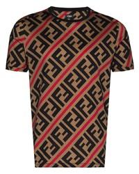 beige bedrucktes T-Shirt mit einem Rundhalsausschnitt von Fendi