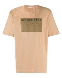 beige bedrucktes T-Shirt mit einem Rundhalsausschnitt von Helmut Lang
