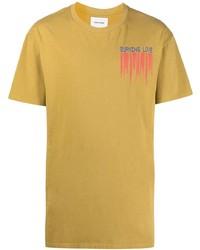 beige bedrucktes T-Shirt mit einem Rundhalsausschnitt von Henrik Vibskov