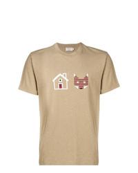 beige bedrucktes T-Shirt mit einem Rundhalsausschnitt von MAISON KITSUNÉ