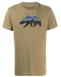 beige bedrucktes T-Shirt mit einem Rundhalsausschnitt von Patagonia