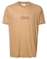 beige bedrucktes T-Shirt mit einem Rundhalsausschnitt von Song For The Mute