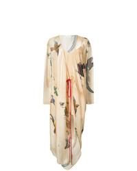 beige bedrucktes Wickelkleid von Vionnet