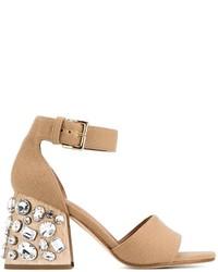 Beige beschlagene Leder Sandaletten von Marni