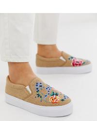 beige bestickte Slip-On Sneakers von ASOS DESIGN