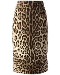beige Bleistiftrock mit Leopardenmuster von Dolce & Gabbana