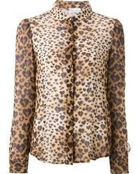beige Bluse mit Knöpfen mit Leopardenmuster