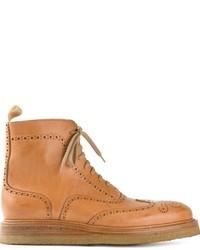 beige Brogue Stiefel aus Leder