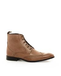 beige Brogue Stiefel aus Leder von Asos