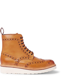 beige Brogue Stiefel aus Leder von Grenson