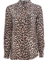 beige Businesshemd mit Leopardenmuster