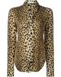beige Businesshemd mit Leopardenmuster von Chloé