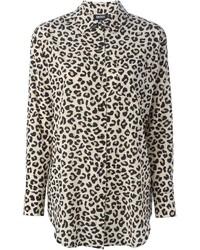 beige Businesshemd mit Leopardenmuster von DKNY