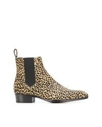 beige Chelsea Boots aus Leder mit Leopardenmuster