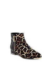 beige Chelsea-Stiefel aus Leder mit Leopardenmuster