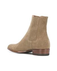 beige Chelsea-Stiefel aus Wildleder von Saint Laurent